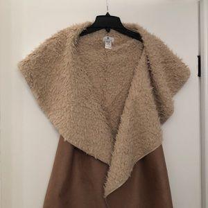 Women's drape front faux fur lined long vest